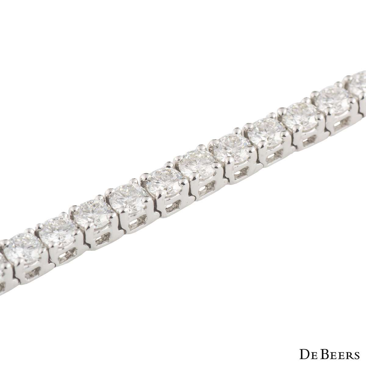 De Beers White Gold Diamond Eternity Line Bracelet